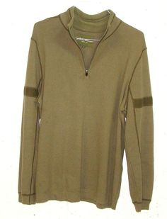 Eddie Bauer Mens Olive Green Cotton Nylon Wool 1/4 Zip Pullover Sweatshirt XL #EddieBauer #14ZipPullover