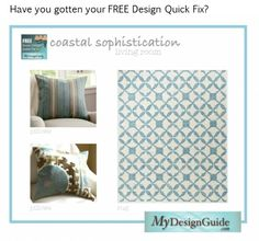 This client got her FREE design quick fix to spice up her coastal living room. She wondered how to add a bit of pattern in blues, greens and browns to make her living room lovely. Get your own free Quick Fix today. Interior Design Help, Coastal Living, Green And Brown, Spice Things Up, Free Design, You Got This, Diy Projects, Pillows, Living Room