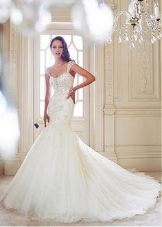Fashionable Sweetheart Sleeve Cap Natural Full Length Mermaid Wedding Dresses