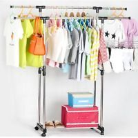 Heavy Duty Rack Clothes STAINLESS Garment Double Rail Hanger Rolling Free Ship Heavy Duty Racking, Wheels For Sale, Wardrobe Rack, Hanger, Ship, Ebay, Furniture, Clothes, Interior Design