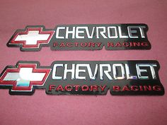 #Chevrolet #factory racing embossed foil red & chrome #stickers.new.decals, x 2,  View more on the LINK: http://www.zeppy.io/product/gb/2/192091029332/