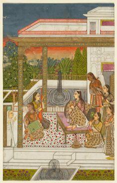 A princess with attendants on a terrace | Cleveland Museum of Art, 2013.291. India, Hyderabad, Deccan, 18th century.