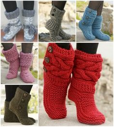 Knitted And Crochet Slipper Boots Free Pattern | The WHOot