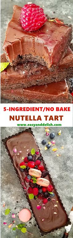 "5-Ingredient No Bake Nutella Tart made with simple ingredients in less than 30 minutes. It is the ""it"" treat for Valentine's Day or just because!"