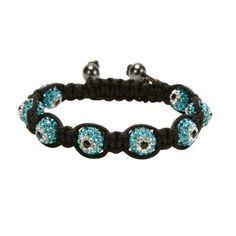 Aquamarine Shamballa Evil Eye Crystal Bracelet #Kalifano
