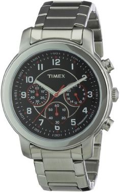 Timex Men's T2N166 Premium Chronograph Silver-Tone Stainless Steel Bracelet Black Dial Watch Timex. $64.99. Water-resistant to 50 M(165 feet). Scratch resistant mineral. Case diameter: 44. Quartz movement. Chronograph watch, stainless steel case