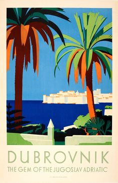 View this item and discover similar for sale at - Original vintage travel advertising poster for Dubrovnik – The Gem of the Jugoslav Adriatic. Stunning Art Deco style illustration by Hans Wagula Retro Poster, Art Deco Posters, Poster S, Vintage Travel Posters, Poster Prints, Party Vintage, Vintage Art, Vintage Gifts, Original Vintage