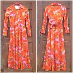 Vintage 70's Orange Novelty Print Polyester by FossilizedFeather