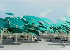 Solar panel forest over a parking lot with plugins for electric cars. BRILLIANT!!!