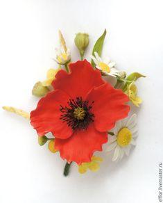 Купить Брошь с полевыми цветами (мак, ромашки, лютики) - белый, желтый, полевые цветы