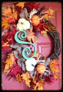 Fall Initial Wreath with leaves burlap and by DesignsbyKarrie, $60.00