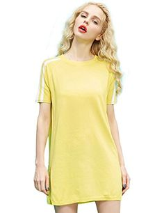 Summer Solid Slit Mini Loose Dress Yellow