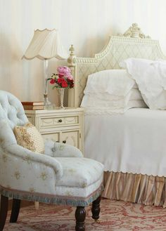 Beautiful headboard, fringed chair. What, When, Where: French Connection | New England Home Magazine