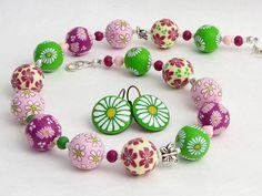 necklace, beads, cane, Lieblich handgefertigte Kette aus Polymer Clay von polymerdesign