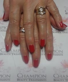 A dry manicure complete with CND Shellac 'Wildfire' nail polish.