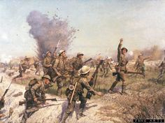 Battle of the Somme, the Attack of the Ulster Division. The Ulster Division advancing into the German trenches during the Battle of the Somme. The officer shown leading the unit is Lt Francis Bodenham Thornley. During the Battle of the Somme he was wounded while serving with B company, Royal Irish Rifles and whilst recuperating he was given the job to advise J.P Beadle on the painting.