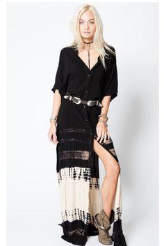 HIGH SLIT DRESS - STILLWATER, boho style, bohemian style, wild west