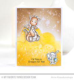 Magical Dragons Stamp Set and Die-namics, Stitched Cloud Edges Die-namics - Anna Kossakovskaya #mftstamps