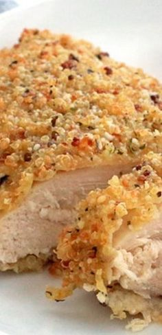 Quinoa-crusted chicken, baked not fried, for a healthy and delicious dinner! Use leftover quinoa if you have it for an easy meal. Healthy Eating Recipes, Clean Eating Snacks, Gourmet Recipes, Cooking Recipes, Recipes Dinner, Healthy Meals, Healthy Food, Quinoa Flour Recipes, Mini Croissants