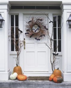 Batty Front Door - Felt bats + natural twig wreath