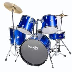 Mendini MDS100-BL Complete Full Size Senior 5-Piece Blue Drum Set with Cymbals, Drumsticks and Throne by Mendini. $305.97. Mendini by Cecilio MDS100 5-piece senior drum set is a complete functional drum set designed for adult/full size drummers. Assembly Required.. Save 62%!