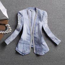 Пальто и куртки высокое качество мода осень 2016 женская джинсовая куртка v-образным вырезом кружева комплект оже развивать нравственность(China (Mainland))