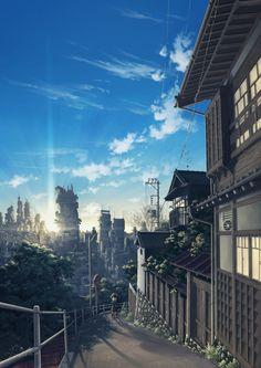 best anime scenery ideas on anime art fantasy Anime Art Fantasy, Anime Scenery Wallpaper, Anime Artwork, Landscape Wallpaper, Walpapers Cute, Anime Disney, Bts Art, Anime Places, Japon Illustration