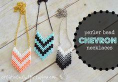 Chevron Perler Bead Necklaces - CreativeMeInspiredYou.com perler beads, plastic beads, melt beads, necklace, jewelry, jewelry crafts, DIY jewelry, trendy colors, easy crafts, kids crafts