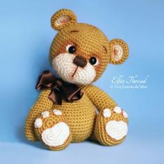 "Bruno the Teddy Bear amigurumi pattern by Elfin Thread, 10"" tall"