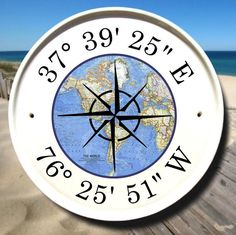 World Map House Plaque / Latitude Longitude Coordinates / Boat House Sign/ Sail Boat Decor / Nautical/Sign / Customizable Gifts / Marker