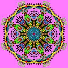Círculo adorno de encaje, ronda patrón geométrico ornamental doily Foto de archivo