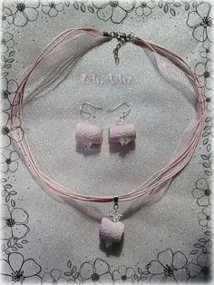 Magic Mountains Treasuries jewelry set of silk and mountain crystal silver sterling hooks earrings & pendant in pale purple, pink by LanAArt on Etsy