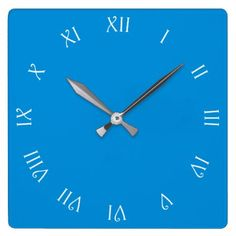 White Script Roman Numbers On Blue Wall Clock - black and white gifts unique special b&w style