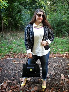 Four Season Fabulous: Polka dots on dots, Fan fringe necklace, Yellow wedges, Phillip Lim for Target bag