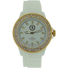 Chelsea FC Ladies Bliss Crystal Set Bezel White Silicone Strap Watch LA3272