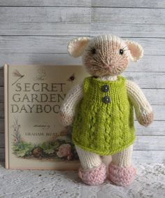 Loretta - Knitted Lamb Toy in Woolen Dress and Slippers