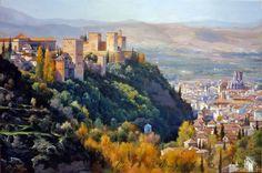 PINTURA PÉTER BOJTHE: Alhambra al amanecer Granada Spain, Crop Circles, Spanish Colonial, Andalucia, Conceptual Art, Art Oil, Medieval, Travel, Oil Paintings