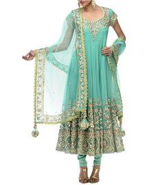 Designer Turquoise Anarakali on Scarlet Bindi