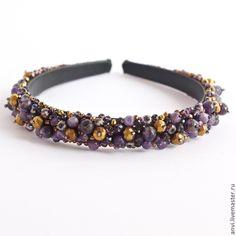 Обруч для волос Аметистовый - тёмно-фиолетовый,вечернее украшение,ободок для волос