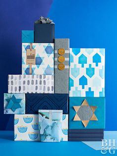 You have eight nights of gifts to give, and eight nights to try a new homemade Hanukkah gift wrap! We have a free template to make your own paper and stamps, DIY gift bows, and fun Star of David gift tags. Hanukkah 2019, Hanukkah Greeting, Hanukkah Crafts, How To Celebrate Hanukkah, Hanukkah Decorations, Holiday Centerpieces, Happy Hanukkah, Hannukah, Paper Decorations