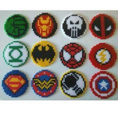 Encargo nuevo! Posavasos de Hama Beads de superhéroes de Marvel y DC con cajita para guardarlos a juego, que os parecen? Queréis los…