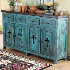 Love this minus the crosses Western Turquoise Santa Fe Cross Buffet from Lone Star Western Decor Western Style, Western Decor, Country Decor, Rustic Decor, Rustic Buffet, Rustic Sideboard, Antique Buffet, Rustic Chic, Rustic Farmhouse