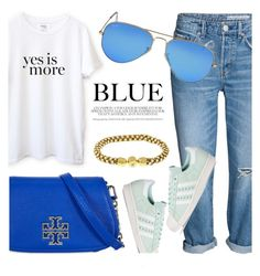 """Everyday Look"" by jomashop ❤ liked on Polyvore featuring Sincerely, Jules, Tory Burch, Ray-Ban and adidas"