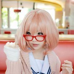 Beyond The Boundary Kuriyama Mirai Pink Orange Short Cosplay Wig Free Cap | eBay