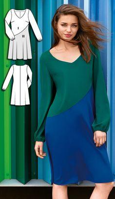 Long Sleeve Dress Burda Sep 2016 #120B http://www.burdastyle.com/pattern_store/patterns/long-sleeve-dress-092016