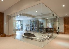 Glass Wall Home Fitness Room - contemporary - home gym - toronto - JJ Home Products Inc