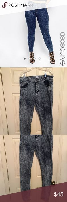 "ASOS Curve Ridley Skinny Jean Acid Wash 16 LONG ASOS Curve Acid wash high waist skinny jeans, US size 16L. Inseam is about 33"", waist about 17"".   98% cotton, 2% elastane. Tried on a few times, still has tag. Reasonable offers welcome. Please use offer option. ASOS Curve Jeans Skinny"