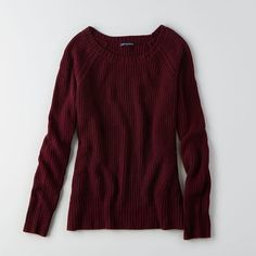 AEO Solid Pullover Sweater ($27) ❤ liked on Polyvore featuring tops, sweaters, downtown burgundy, cable crew neck sweater, pattern sweater, cable pullover sweater, print sweater and cable knit pullover sweater