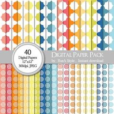 SALE 40 Digital Paper Pack circle design Scrapbooking by rueastyle