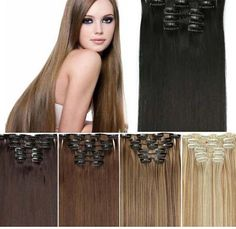 Clip-In Hair Extensions - Straight 140 Grams of Hair 8 Pcs, 23""